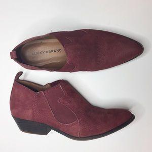 lucky brand joelle western bootie burgundy leather